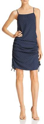 J.o.a. Ruched Polka Dot-Print Dress