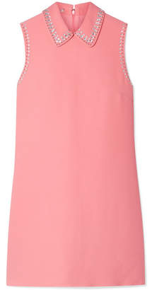 Miu Miu Embellished Cady Mini Dress - Pink