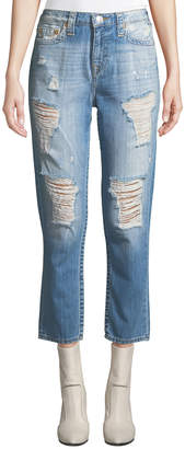 True Religion High-Waist Distressed Boyfriend Jeans
