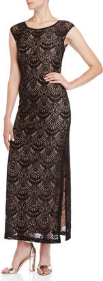 Connected Apparel Fan Lace Fitted Maxi Dress