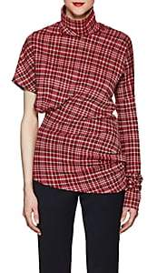 Calvin Klein Women's Plaid Cotton-Blend Jacquard Asymmetric Top-Red Navy White