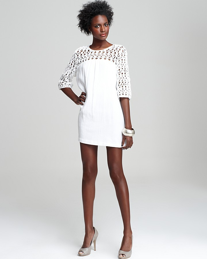 Rebecca Minkoff Three-Quarter Sleeve Crochet Shoulder Dress