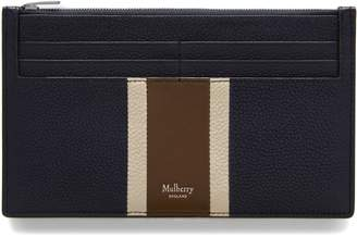 Mulberry Travel Card Holder Midnight, Chalk and Moss Leather Stripe