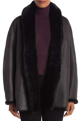 Vince Reversible Genuine Lamb Shearling Trim Coat
