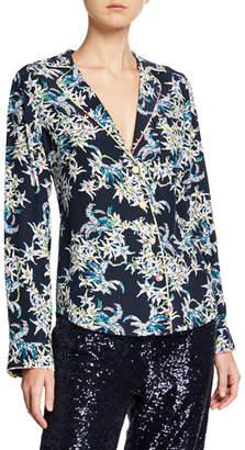 Cinq à Sept Juliet Floral-Print Silk Button-Front Top