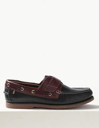 """Marks and Spencer Leather Riptape Boat Shoes with Freshfeetâ""""¢"""