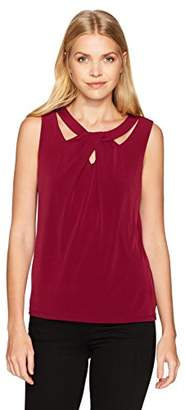Nine West Women's Solid Ity Criss Cross Blouse