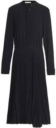 Vanessa Bruno Grosgrain-Trimmed Pleated Crepe Dress