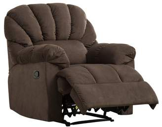 BONZY Recliner Soft Plush Fabric Cover Manual Stretched Chair Living Room Recliner with Padded Arms - Chocolate