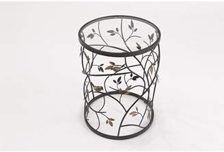 InnerSpace Luxury Products Large Bird and Branches Side Table with Glass Tabletop, Antique Bronze Finish