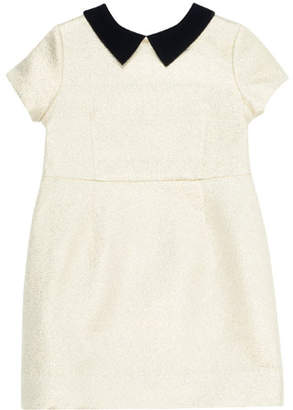 Bonpoint Glittered Dress w/ Contrast Velvet Collar, Size 4-8