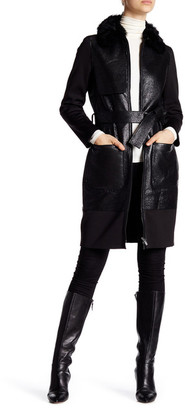 ZAC Zac Posen Beverly Long Length Genuine Lamb Shearling Collar Leather Coat $1,295 thestylecure.com