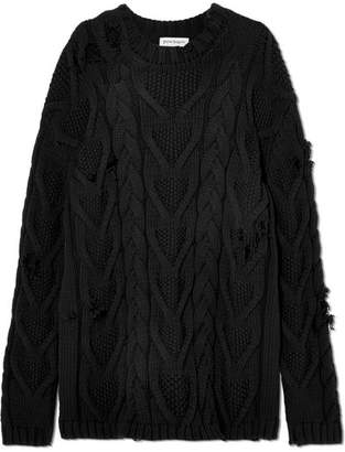Distressed Cable-knit Cotton-blend Sweater - Black