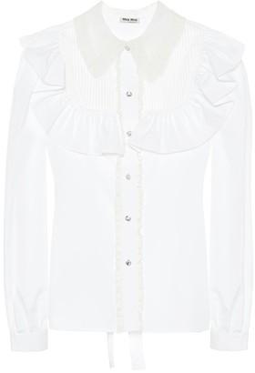 Miu Miu Crystal-embellished cotton blouse