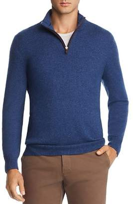 Bloomingdale's The Men's Store at Cashmere Suede Trim Half-Zip Sweater - 100% Exclusive