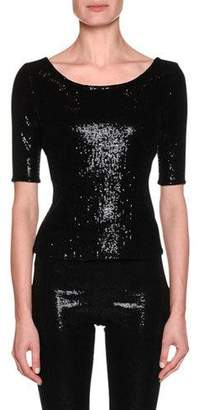 Giorgio Armani Short-Sleeve Stretch-Paillette Fitted Top