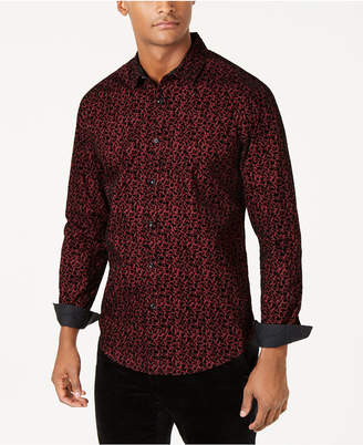 INC International Concepts I.n.c. Men Flocked Floral Shirt