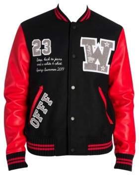 Off-White Men's Luxury Leather& Wool Varsity Jacket - Red Multi - Size Medium