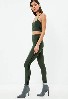 Missguided Carli Bybel x Khaki Stripe Slinky leggings