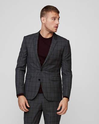 Express Extra Slim Plaid Wool Suit Jacket