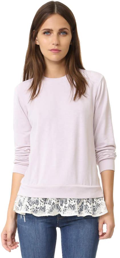 Sweatshirt with Lace Ruffles