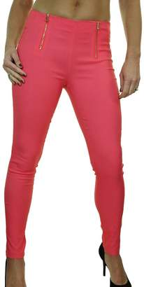 Ice 1499-4) Stretch Super Skinny Trousers Back Pockets Coral Pink
