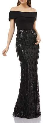 Carmen Marc Valvo Off-the-Shoulder Sequined Gown