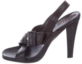Prada Sport Leather Crossover Sandals