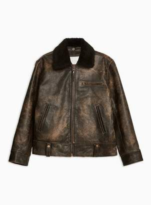 Topman Mens Black Distressed Leather Biker With Removable Collar