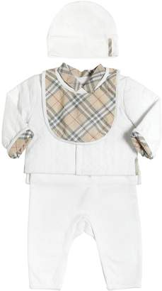 Burberry Interlock Romper, Jacket, Hat & Bib Set