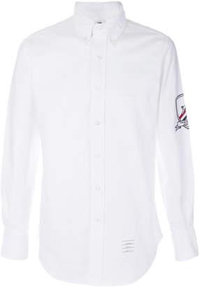 Thom Browne エンブロイダリー パッチ アームバンド ボタンダウン&ポイントカラー シャツ ホワイト オックスフォード