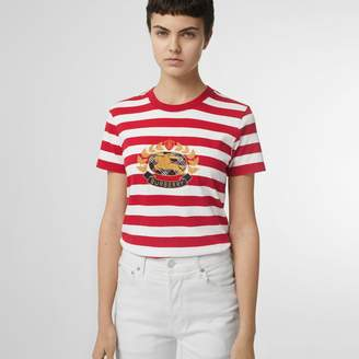 Burberry Crest Applique Striped Cotton T-shirt