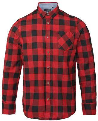 Brave Soul Mens Long Sleeve Printed Checkered Heavily Brushed Shirt (S) (Red/Black)