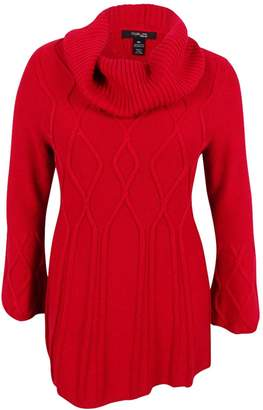 Style&Co. Style & Co. Womens Plus Cowl-Neck Ribbed Trim Pullover Sweater Red