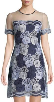 T Tahari Two-Tone Floral Lace Dress w/ Sheer Yoke