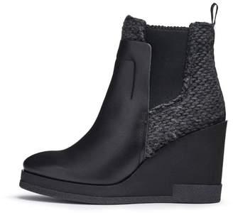 Miista Black Leather Wedge