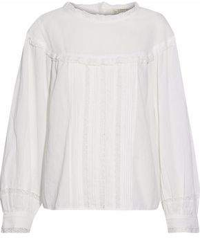 Current/Elliott Lace-Trimmed Pintucked Cotton-Gauze Top