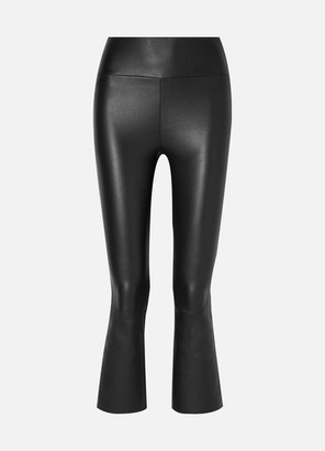 SPRWMN - Cropped Stretch-leather Flared Leggings - Black