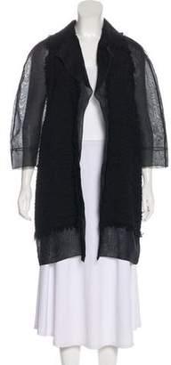 Giambattista Valli Frayed Knee-Length Coat