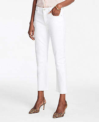 Ann Taylor Frayed Straight Crop Jeans In Optic White