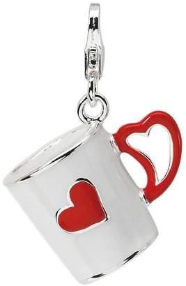 Amore La Vita Sterling Dimensional Coffee Cupw/Heart Charm