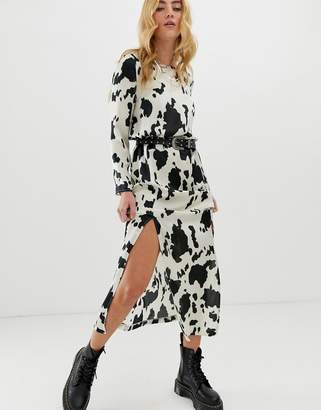 Asos Design DESIGN maxi dress with cowl back in cow animal print