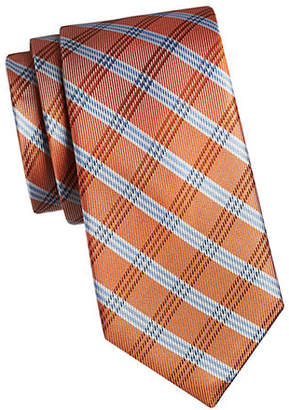 Tommy Hilfiger Plaid and Solid Silk Tie