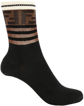 Fendi Logo Trim Crew Socks