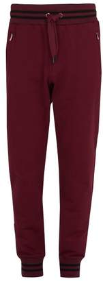 Dolce & Gabbana - Striped Trim Cotton Jersey Track Pants - Mens - Burgundy