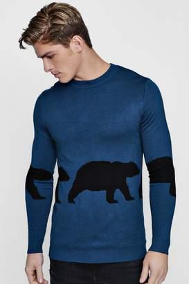 boohoo Bear Intarsia Knit Jumper