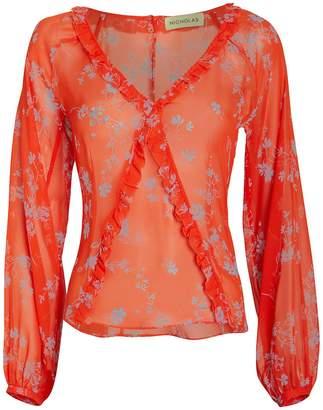 Nicholas Poppy Silk Chiffon Floral Blouse