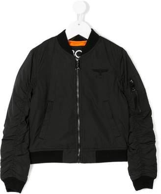 Boy London Kids ruched sleeve bomber jacket
