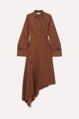 Marques Almeida Marques' Almeida - Asymmetric Paneled Striped Cotton Dress - Brown