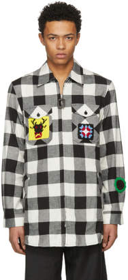 J.W.Anderson Black and White Crochet Patches Lumberjack Shirt